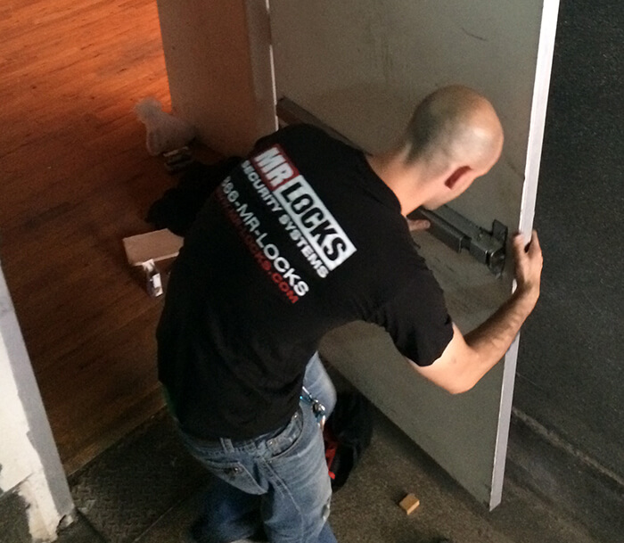 Exit device installation