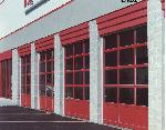 Garage Door - Commercial Aluminum+Glass Red Overhead Garage Door